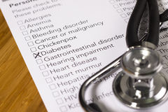 Health Evaluation Form Stock Image