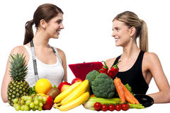 Health experts. Fresh fruits and vegetables Royalty Free Stock Image