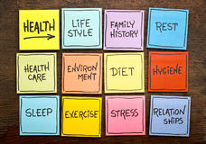 Health factors concept - word cloud on sticky notes royalty free stock image