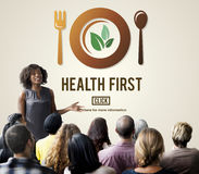 Health First Nutrition Active Diet Wellness Concept. Woman Presenting Health First Nutrition Active Diet Wellness royalty free stock image