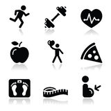 Health and fitness black clean icons set. Clean icons set with shadow - keepieng fit, exercise, leaving healthy, loosing weight concept Royalty Free Stock Images