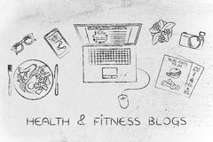 Health & fitness blogger desk with laptop, health & fitness blog Stock Photo