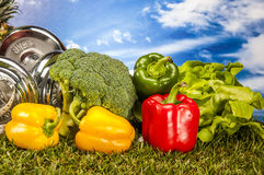 Health and fitness composition, fruits and vegetables Stock Photo