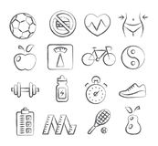 Health and Fitness doodle icons Royalty Free Stock Photos