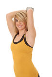 Health and Fitness Girl 13. Beautiful young blond lady doing a fitness workout Stock Images