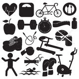 Health and Fitness Icons Collection. Icons for health and fitness in black and white Royalty Free Stock Image