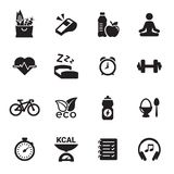 Health and Fitness icons. Black on a white background Royalty Free Stock Images