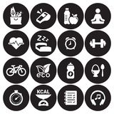 Health and Fitness icons. White on a black background Royalty Free Stock Image