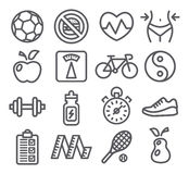 Health and Fitness icons. Health and Fitness line icons Royalty Free Stock Photo