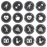 Health and fitness icons retro labels set. Vintage dark badges- keepieng fit, exercise, leaving healthy, loosing weight concept Royalty Free Stock Photo