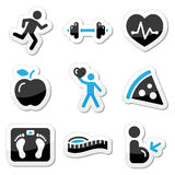 Health and fitness icons set. Black and blue glossy labels. Keepieng fit, exercise, leaving healthy, loosing weight icons Royalty Free Stock Photos