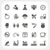 Health and Fitness icons set Stock Image
