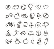 Health and fitness icons. Set of hand drawn doodle style health and fitness icons Stock Image