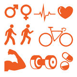 Health and Fitness icons set. Illustration of Health and Fitness icons set Stock Photography