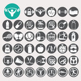 Health and fitness icons set. Illustration eps10 Royalty Free Stock Photo