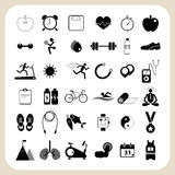 Health and fitness icons set for web design. Health and fitness icons illustration set for web design Royalty Free Stock Photos