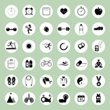 Health and fitness icons set for web design. Health and fitness icons illustration set for web design Stock Images