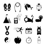 Health and fitness icons set for web design Stock Image