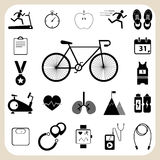 Health and fitness icons set for web design Stock Photos