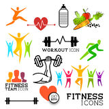Health & Fitness Icons. Health and Fitness symbols and icons set. Vector illustrations Royalty Free Stock Photos