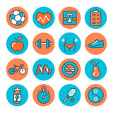 Health and Fitness Icons. On white background Royalty Free Stock Photography
