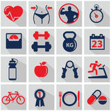 Health and Fitness icons. Health and Fitness, workout icons Royalty Free Stock Photos