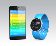 Health and fitness information synchronize from smart watch Stock Photos