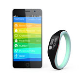 Health and fitness information synchronize from smart wristband Royalty Free Stock Image