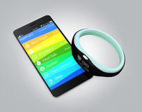 Health and fitness information synchronize from smart wristband Stock Image