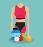 Health and fitness related icons image Stock Image