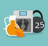 Health and fitness related icons image Royalty Free Stock Photos