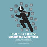 Health And Fitness Smartphone Monitoring. Vector Illustration Royalty Free Stock Photos