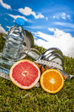 Health and fitness stuff, organic food Royalty Free Stock Images
