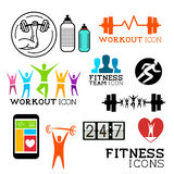 Health and Fitness symbols. And icons set. Vector illustrations Stock Photo