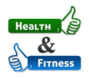 Health and Fitness Thumb Up. Health and fitness labels with thumb up symbol stock illustration