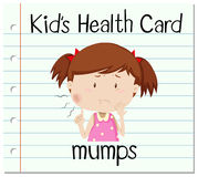 Health flashcard with girl and mumps Stock Images
