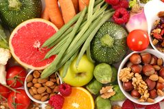 Health food assortment. Close up on health food assortment royalty free stock photography