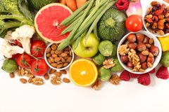 Health food assortment. Top view stock images