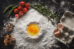 Health food, cooking concept on black background Stock Photography