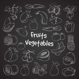 Health food doodle vegetables and fruits hand drawn veggie food meal Royalty Free Stock Photo