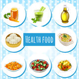 Health food, eight icons of dishes and drinks Royalty Free Stock Images