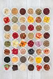 Health Food for Healthy Eating. Food for healthy eating with superfood of fish, fruit, vegetables, pulses, nuts, seeds, grains, cereals with herbs and spices royalty free stock images