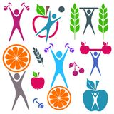 Health and food icons Stock Images