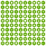 100 health food icons hexagon green. 100 health food icons set in green hexagon isolated vector illustration Stock Photo