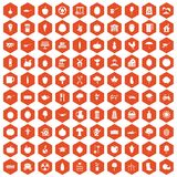 100 health food icons hexagon orange. 100 health food icons set in orange hexagon isolated vector illustration Stock Photos