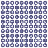 100 health food icons hexagon purple. 100 health food icons set in purple hexagon isolated vector illustration royalty free illustration