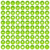 100 health food icons set green circle. Isolated on white background vector illustration stock illustration