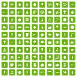100 health food icons set grunge green. 100 health food icons set in grunge style green color isolated on white background vector illustration stock illustration