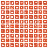 100 health food icons set grunge orange. 100 health food icons set in grunge style orange color isolated on white background vector illustration royalty free illustration