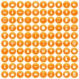100 health food icons set orange. 100 health food icons set in orange circle isolated on white vector illustration vector illustration